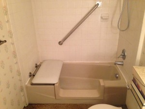 Tub converted to minimize slip and fall injuries.
