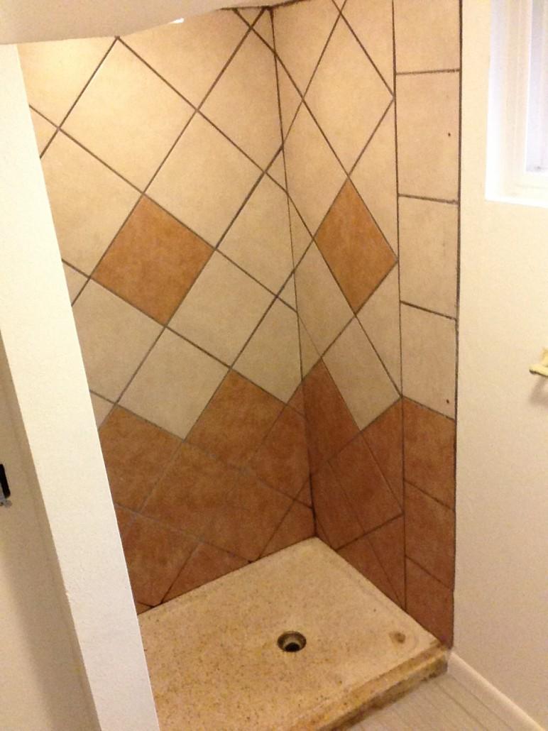 Bathtub Refinishing Shower pan   Tile Refinish. Before   After   Colorado Tub Repair